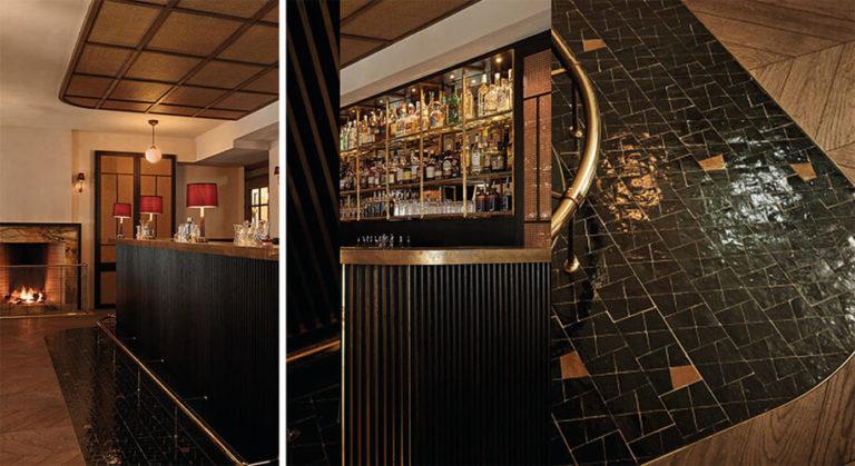 réalisation hotel Sardaigne zelliges noir et or